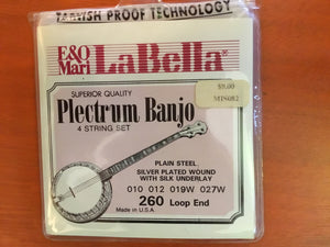 Banjos Plectrum Banjo string set, plain steel, silver plated steel wound, loop ends, 1st/.010P, 2nd/.012P, 3rd/.019W, 4th/.027W