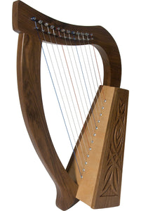Roosebeck 21 Inch Baby Harp 12 String Walnut Knotwork + String Set + Tuning Tool