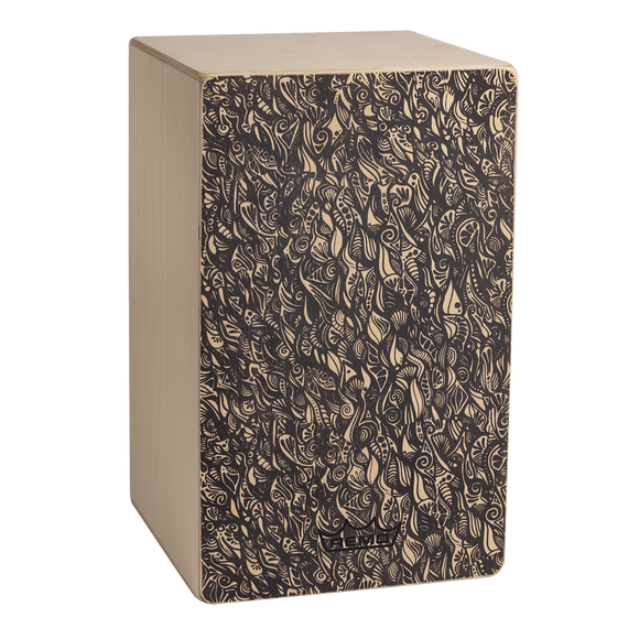 Cajons Remo Cajon, Artbeat Artist Collection, Fixed Face Plate, Natural Finish, Aux Moon, Artwork By Aric Improta