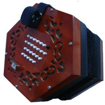 Concertina Tunbridge 48 Button English Concertina, Wood Ends with case (Italian reeds)