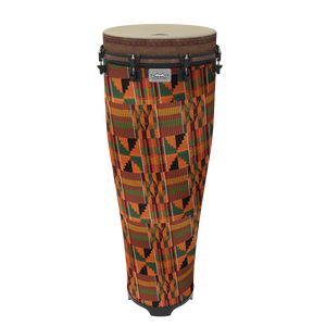 "Djembes & Ashikos Remo Standing Ngoma, Key-Tuned, 14"" Diameter, 40"" Height, Fabric Kintekloth"