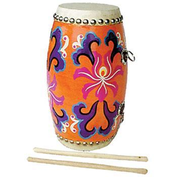 "Drums - Others 5""w x 12""d Yiu Gu Drum With Hand Painted Design"