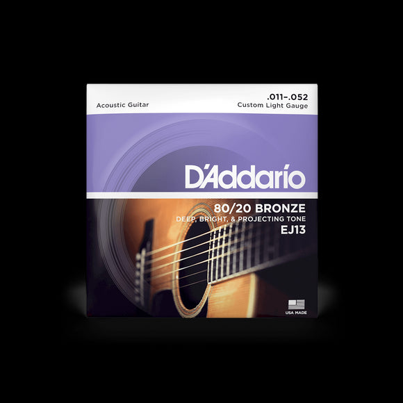 D'Addario EJ13 80/20 Bronze Acoustic Guitar Strings, Custom Light Gauge, 11-52