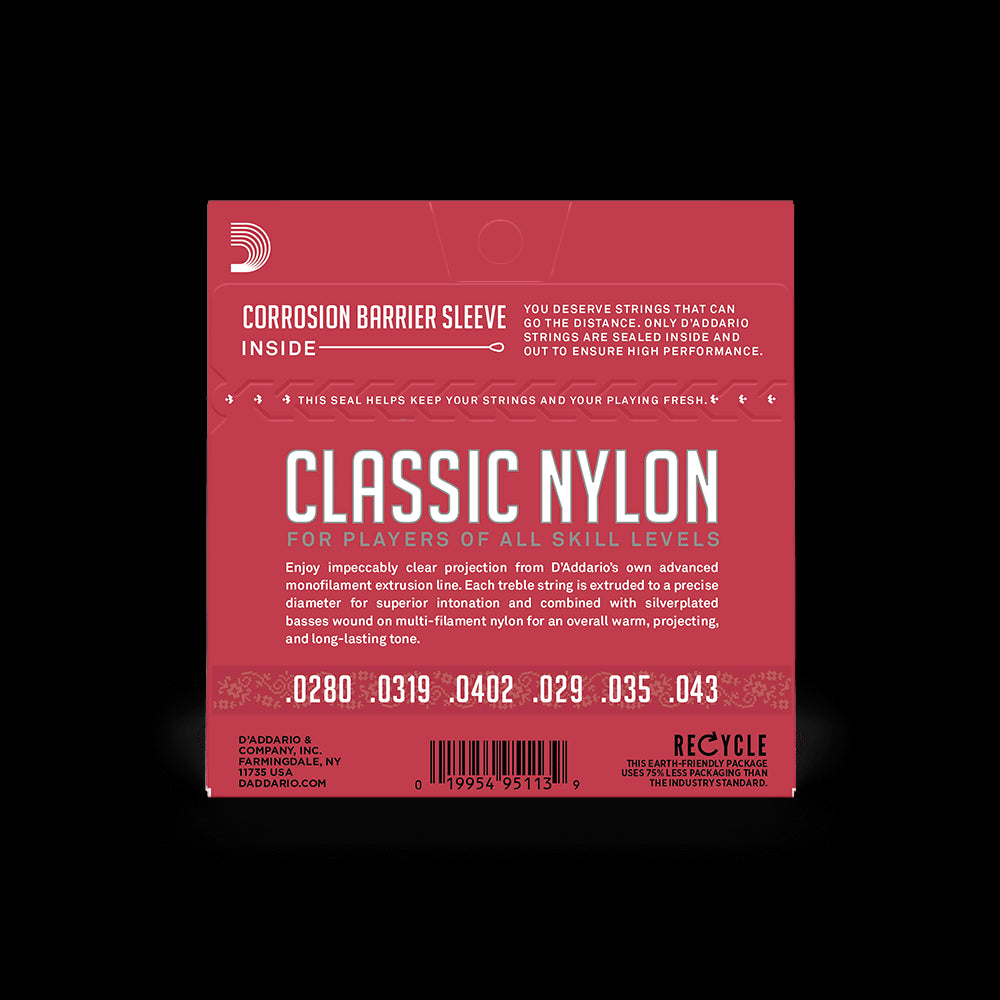 D'Addario Classical Guitar NORMAL TENSION Silver Plated Wrap, Nylon Core, Clear Student Nylon Trebles, EJ27N