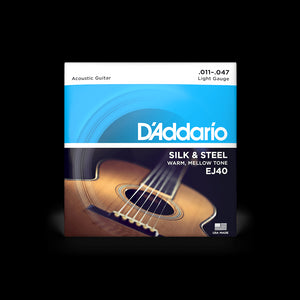 D'Addario EJ40 Silk and Steel Folk Acoustic Guitar Strings, Light Gauge, 11-47