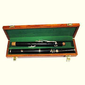 Flutes Irish Polymer 5 Key D flute, silver plated pillars & rings, brass slide head with rosewood case.