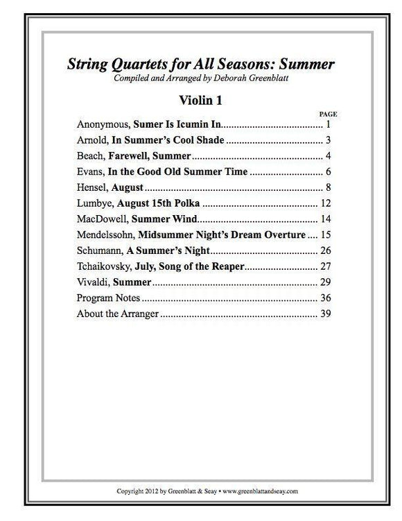 Media String Quartets for All Seasons: Summer - Parts