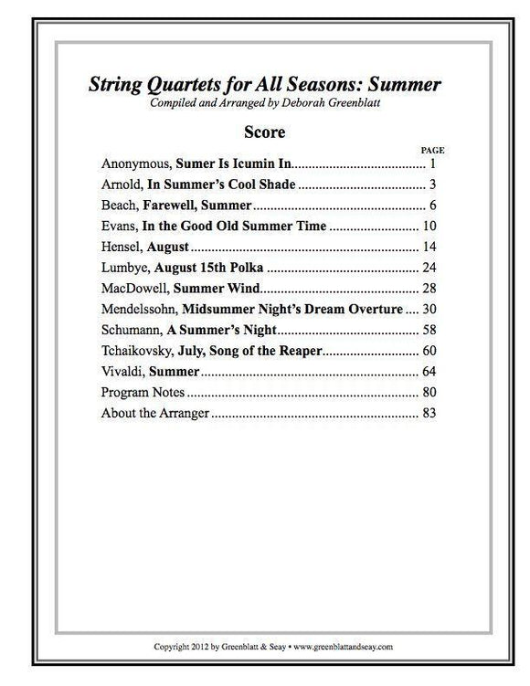 Media String Quartets for All Seasons: Summer - Score