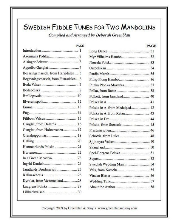 Media Swedish Fiddle Tunes for Two Mandolins