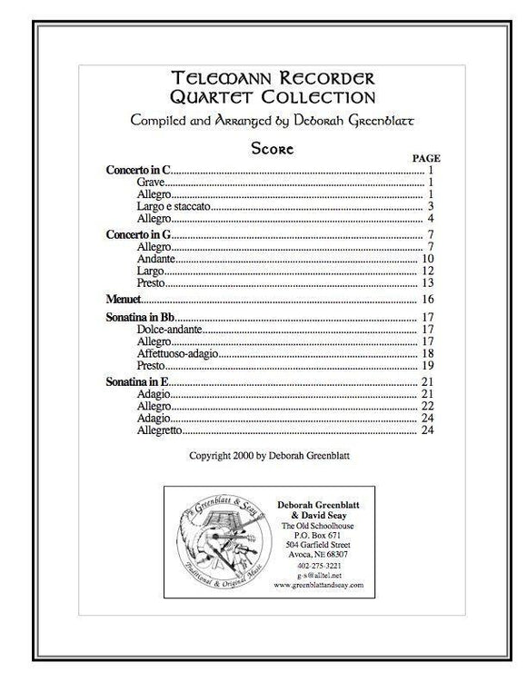 Media Telemann Recorder Quartet Collection - Score