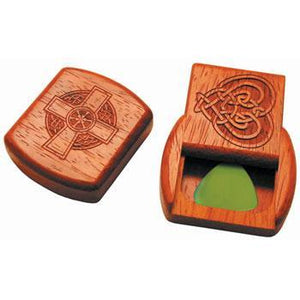 Musical Gifts Flatpick Box, padouk assorted Celtic designs 181,180,182,183