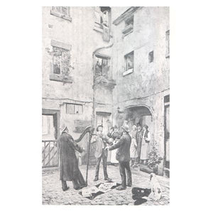 Musical Postcards Courtyard scene w/ harp, guitar & fiddle *
