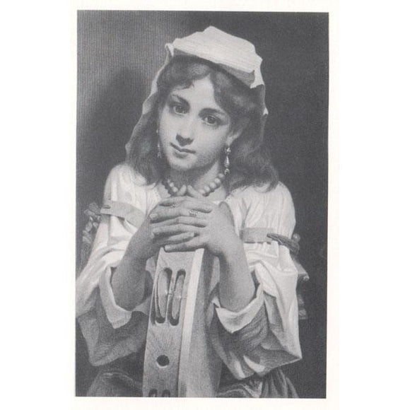 Musical Postcards Pensive Elizabethan girl w/ tambourine