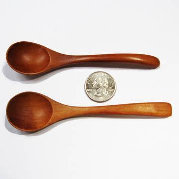 Spoons Finger Spoons 4-1/2 Inches, Hardwood, Pair