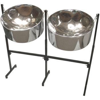 Steel Drums Double Second Pan, Chromed Finish, with double painted adjustable stand and sticks