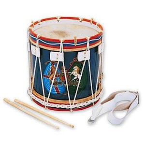 "Stick Drums Rope Tension Side Drum, 14"" Wood Shell With Snare With Coat Of Arms With Sticks And Strap"