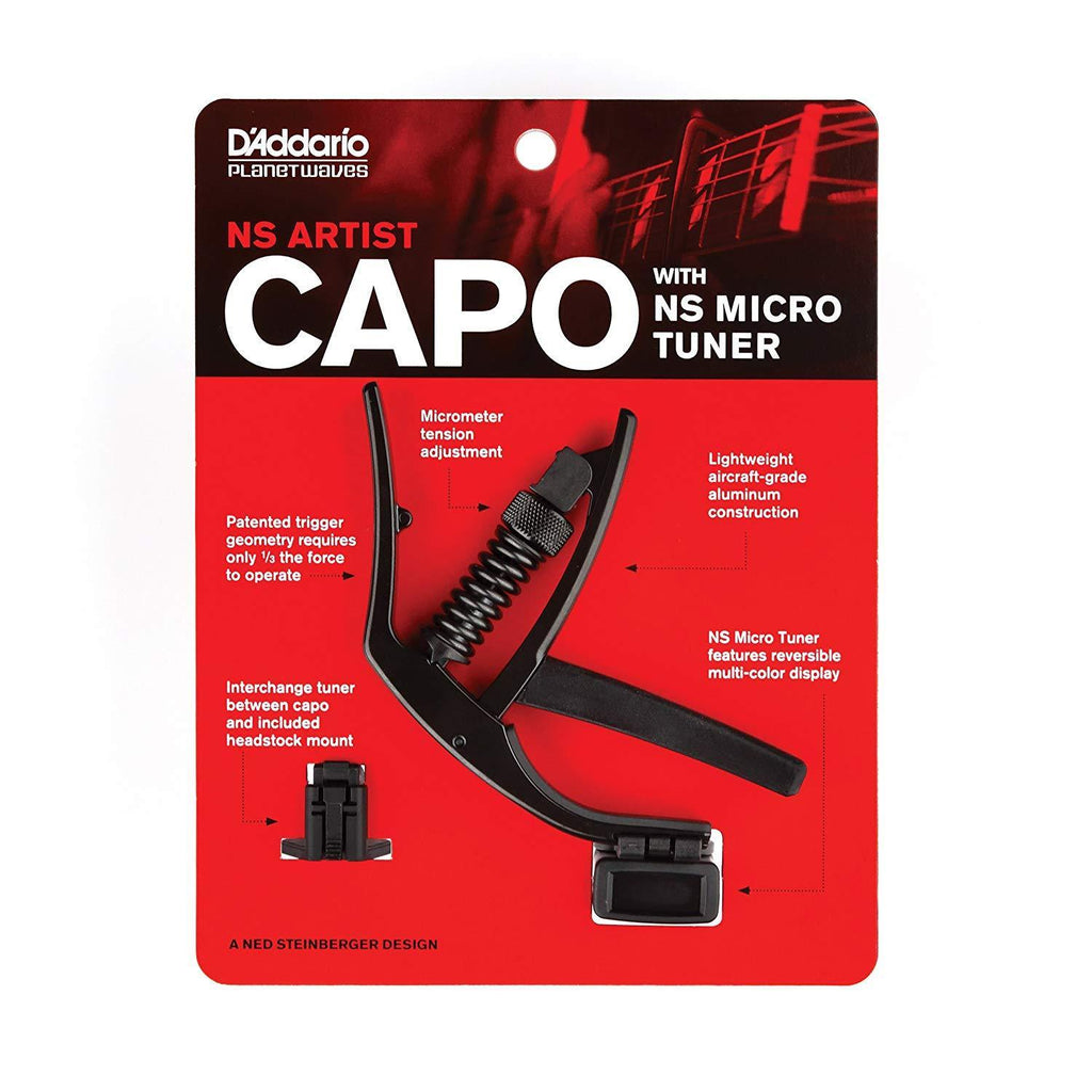 Stringed Instrument Accesories D'Addario NS Artist Capo with NS Micro Headstock Tuner