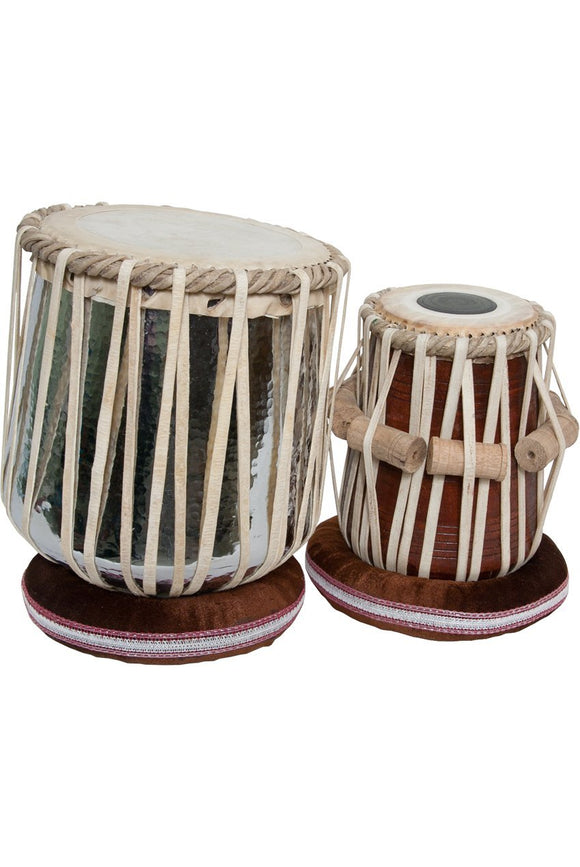 "Tabla banjira Jori Tabla Set, Brass Nickel Plated Dhamas and 5.75"" tabla, D#"