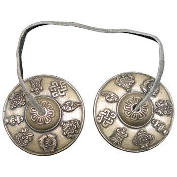 Tingsha 2.8-Inch Tingsha With Raised Buddhist Symbols