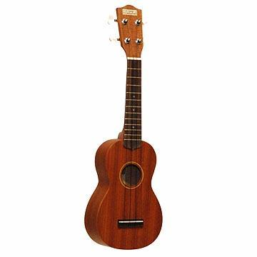 Ukuleles Makai Soprano Body Style, Matte Finish, Mahogany Laminate Back and Sides, Rosewood Fingerboard, Side-Geared Tuners w/ White Buttons