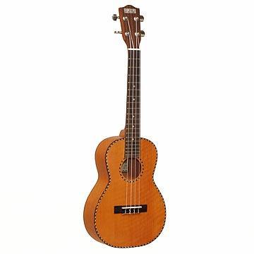 Ukuleles Solid Mango Tenor, Matte finish, Rope inlay/Tortoise Bindings W/B, Side-Geared Chrome Tuners, Aquila Strings