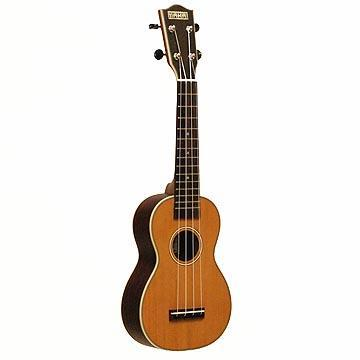 Ukuleles Soprano Body Style, Solid Cedar Top, Solid Rosewood Back & Sides, Rosewood Fingerboard, Side-Geared Tuners w/ Black Buttons, Aquila Strings Bone Nut & Saddle