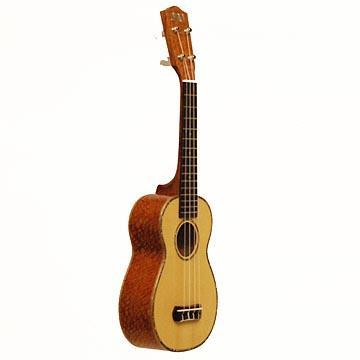 Ukuleles Soprano Solid Spruce Top, Lacewood Back/Sides, Maple Binding/w mother of pearl inlay, Friction Tuners, Aquilla Strings