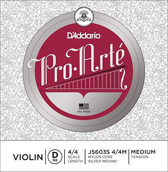 Violin Accessories D'Addario Pro-Arte Violin Single Silver Wound D String, 4/4 Scale, Medium Tension