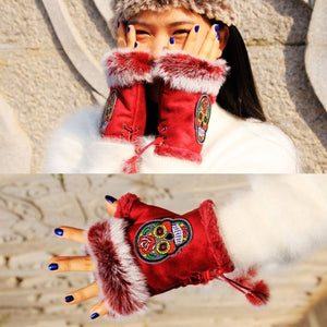 Sugar Skull Fingerless Gloves