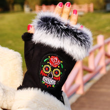 Load image into Gallery viewer, Sugar Skull Fingerless Gloves