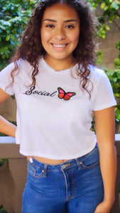 Social Butterfly Embroidered Favorite Crop Tee