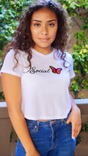 Load image into Gallery viewer, Social Butterfly Embroidered Favorite Crop Tee