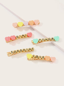 Love, Power, Girl, Sunshine Barrette Set