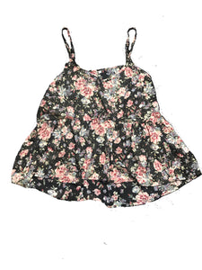 Floral Disty Ruffle Hem Cami Top