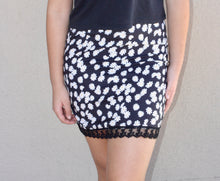 Load image into Gallery viewer, Allover Daisy Lace Trimmed Skirt