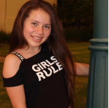 Load image into Gallery viewer, One Shoulder girls rule Tee