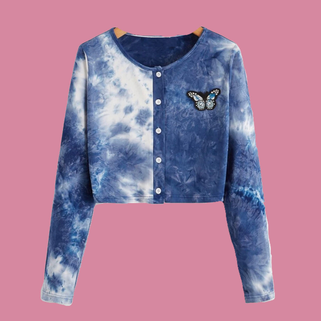 Tye Dye Cardigan with Embroidered Butterfly