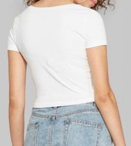Socialite Embroidered V-neck Crop Tee