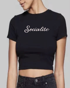 Socialite Embroidered Favorite Crop Tee