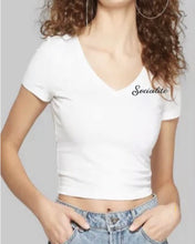 Load image into Gallery viewer, Socialite Embroidered V-neck Crop Tee