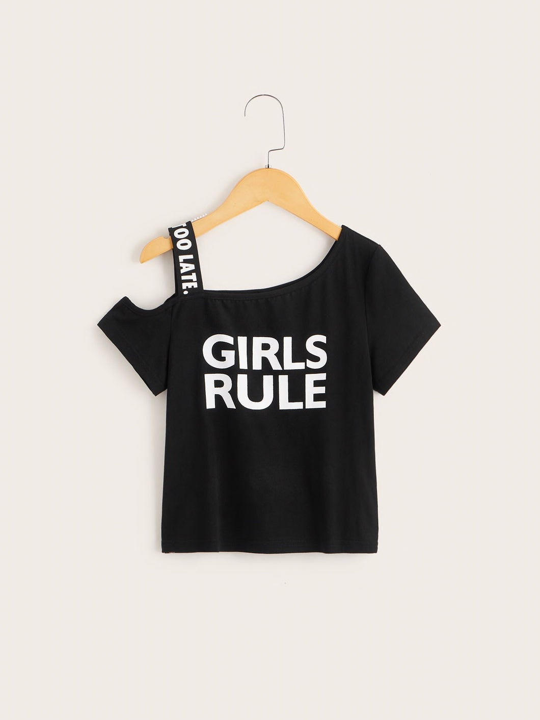 One Shoulder girls rule Tee
