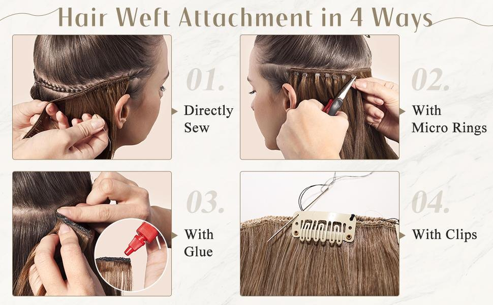 sew in weft hair human