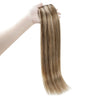 Weft Brazilian 100% Human Hair Sew In Bundles Straight 100Grams Color #4 Chocolate Brown Highlight #27 Honey Blonde (#4/27)