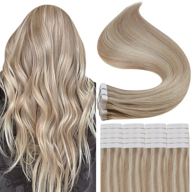 tape in real human hair extensions blonde