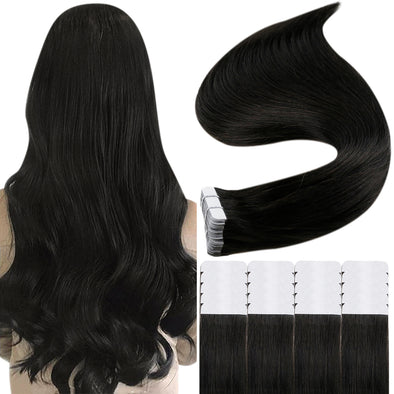human hair tape black