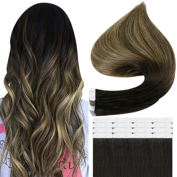 Full Shine Tape in Hair Extensions 100% Remy Human Hair Balayage Ombre 20 Pieces 50 Grams (1B/6/27)