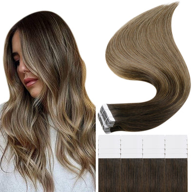 human hair tape in extensions brown