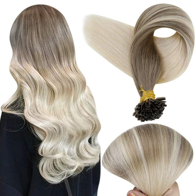 fusion human hair extensions blonde