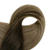 brown human hair clip in