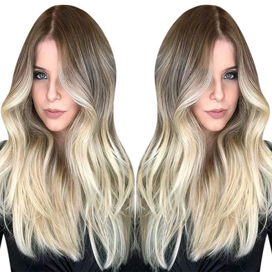 Full Shine Flat Silk Weft Virgin PU Sew In Human Hair Extensions Balayage Ombre (#8/60)